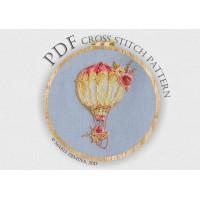 Акварельный воздушный шар с цветами - схема для вышивки крестом