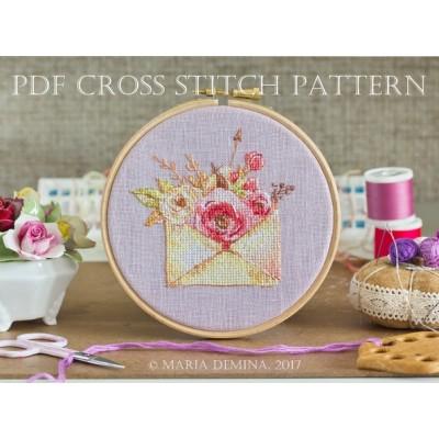 Акварельный конвертик с цветами - схема для вышивки крестом