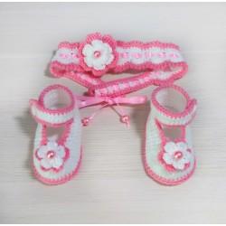 Комплект повязка и пинетки-туфельки